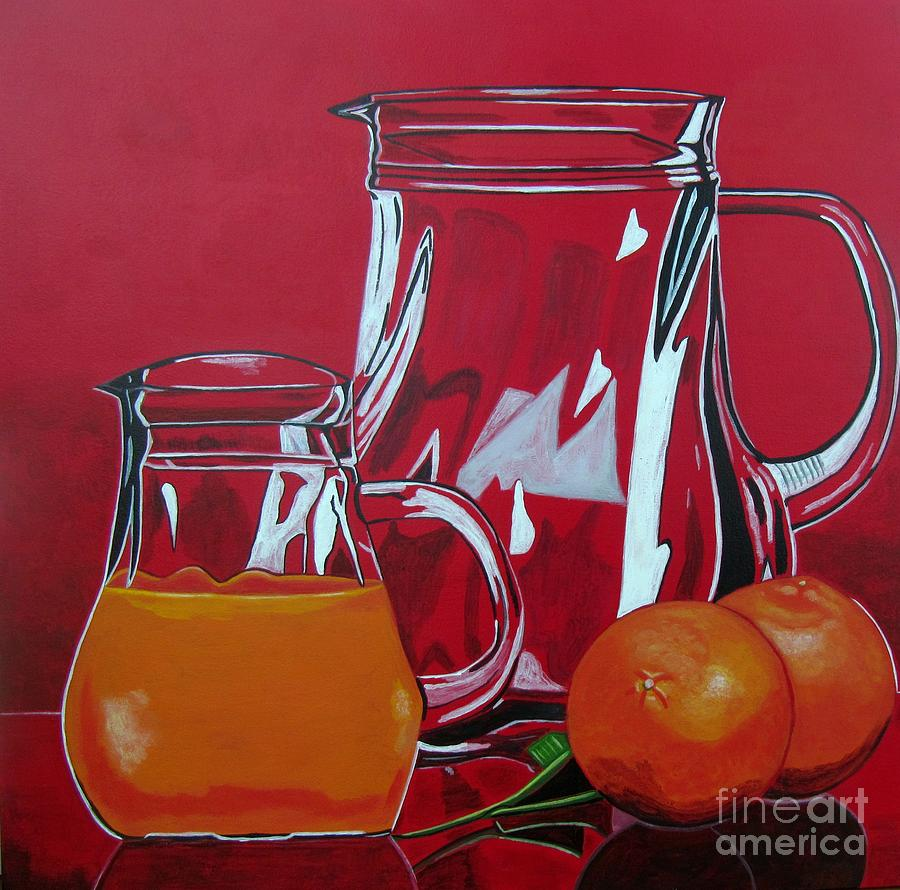 Food Painting - Orange Juggle by Sandra Marie Adams