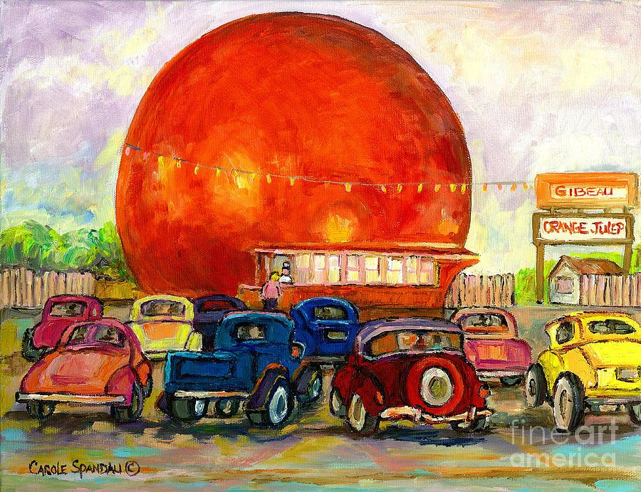 Orange Julep With Classic Cars Painting - Orange Julep With Antique Cars by Carole Spandau