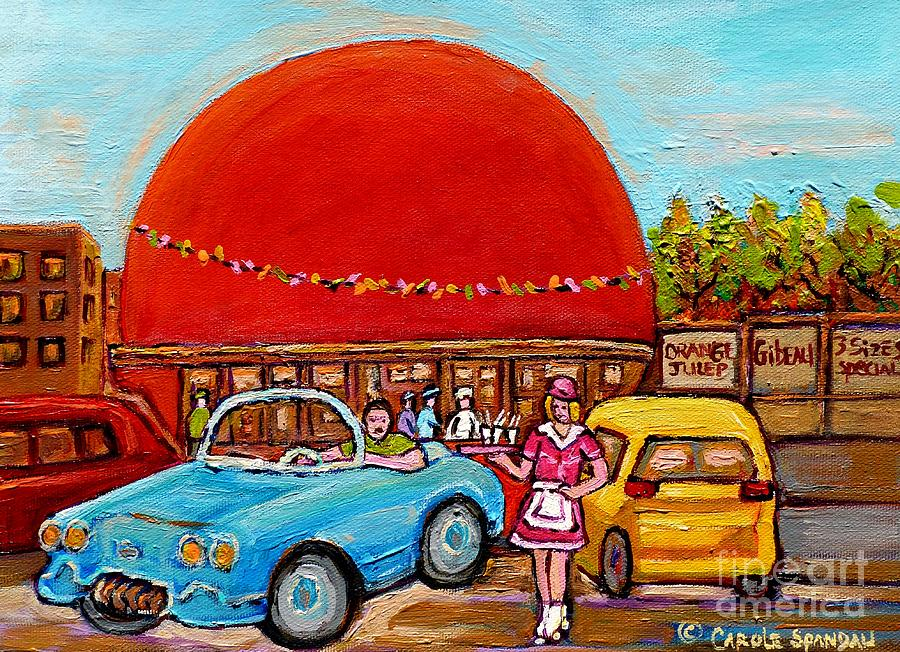 Orange julep with girl on rollerblades paintings of for Diner painting