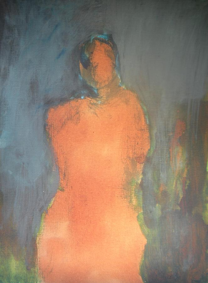 Acrylic Painting - Orange Lady by Andrea Friedell