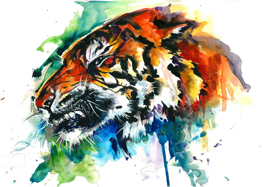 Orange Mad Tiger Watercolor Art Print Painting