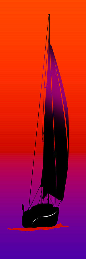 Boats Digital Art - Orange On Purple.....long by Peter Stevenson
