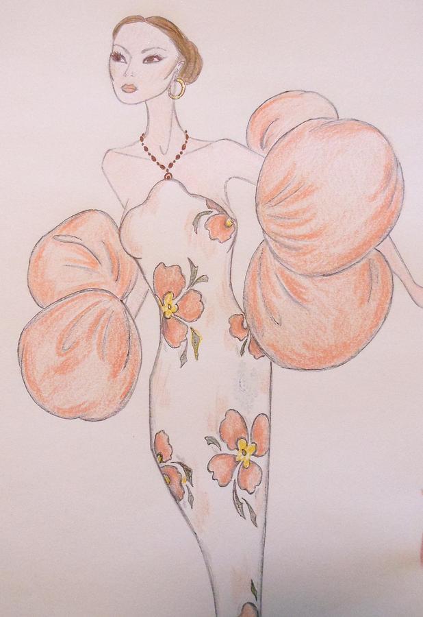Haute Couture Drawing - Orange Organza by Christine Corretti
