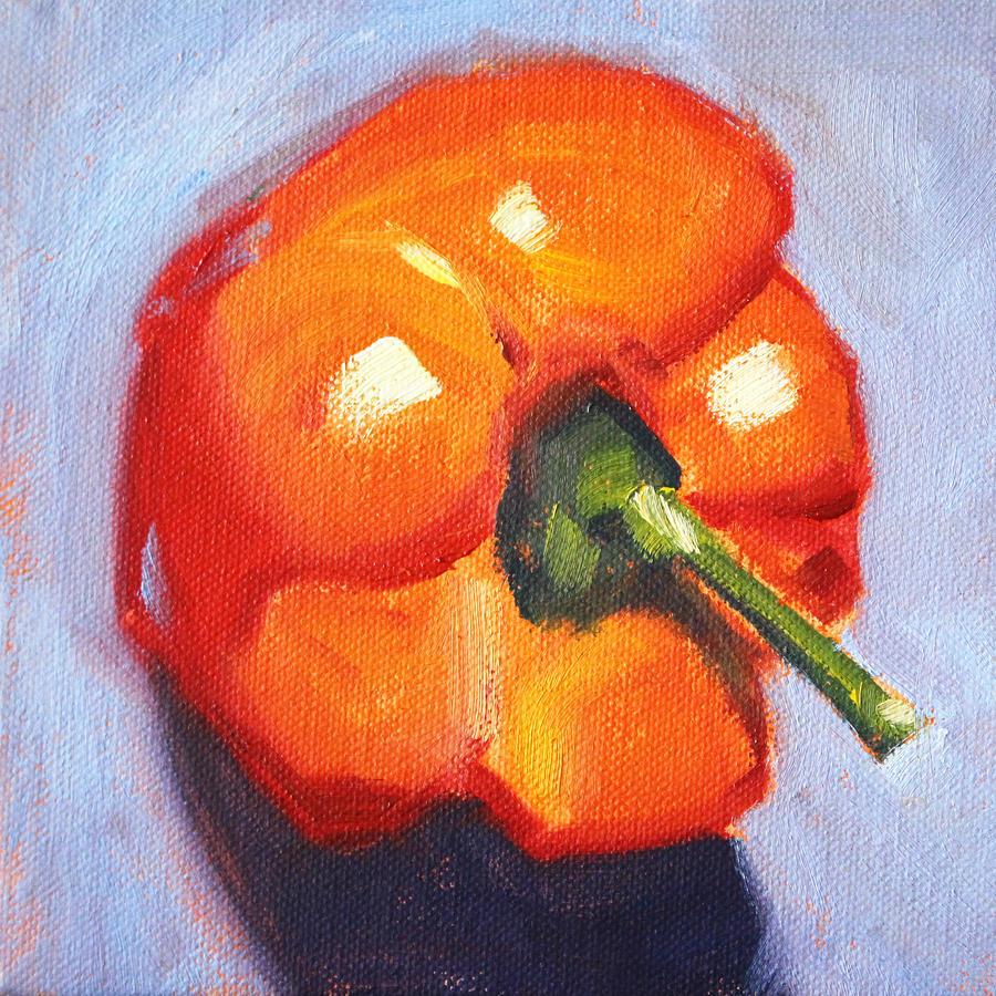 Pepper Painting - Orange Pepper Still Life by Nancy Merkle