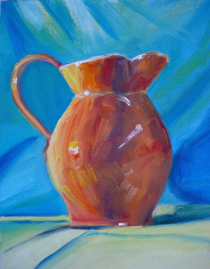 Still Life Painting - Orange Pitcher Still Life by Donna Tuten