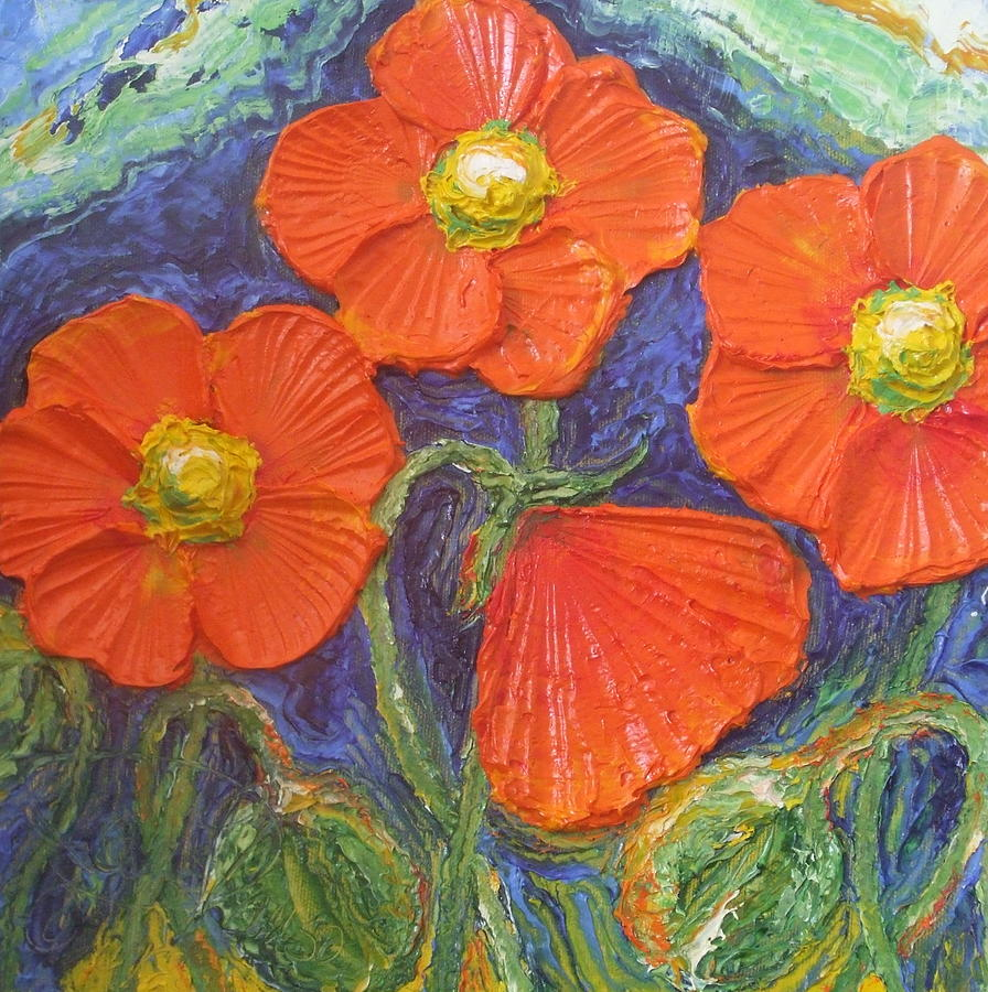 Oil On Canvas Painting - Orange Poppies by Paris Wyatt Llanso