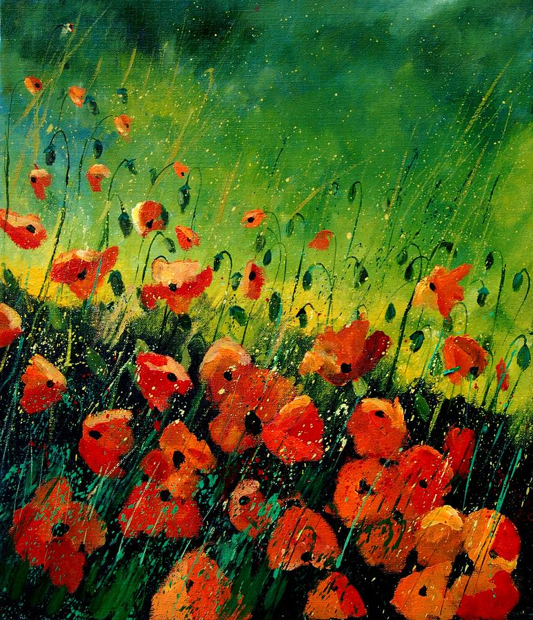 Poppies Painting - Orange Poppies  by Pol Ledent