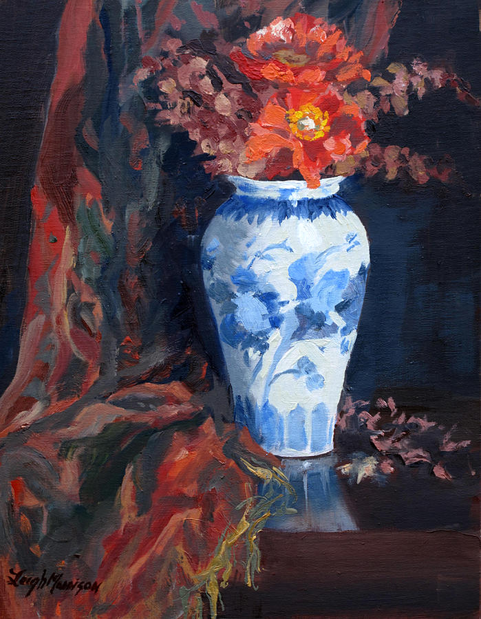 Still Life Painting - Orange Poppies With Blue And White Vase by Leigh Morrison