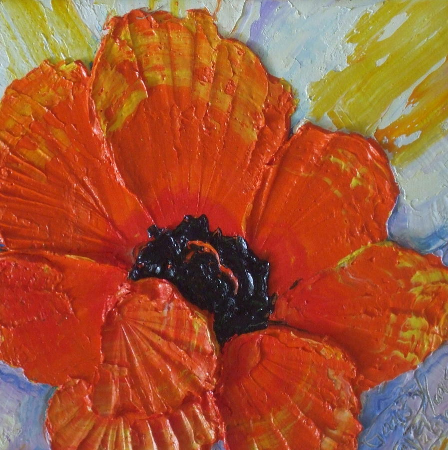 Oil On Canvas Painting - Orange Poppy by Paris Wyatt Llanso