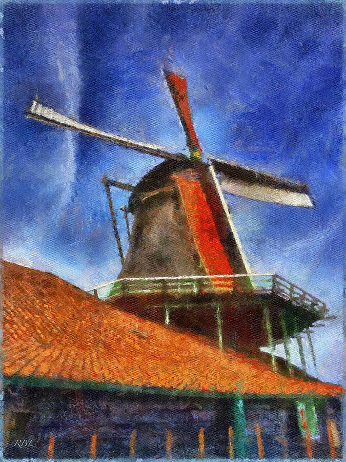 Zaanse Schans Digital Art - Orange Sails by Rick Lloyd