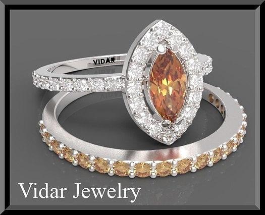 Gemstone Jewelry - Orange Sapphire And Diamond 14k Wedding Ring And Engagement Ring Set by Roi Avidar