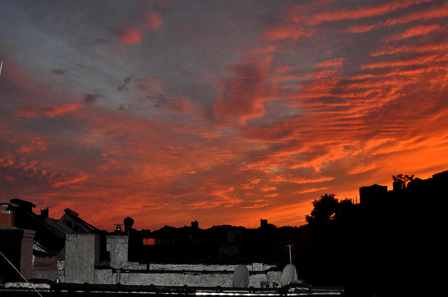 Sky Photograph - Orange Sky From Brooklyn Roof by Diane Lent