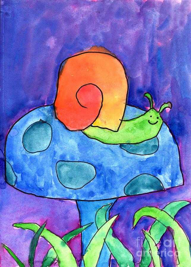 Snail Painting - Orange Snail by Nick Abrams Age Twelve