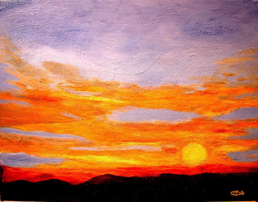 Orange Sunset Painting By Joseph Hawkins