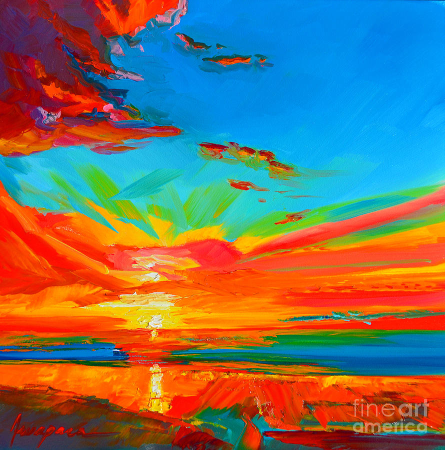 Colorful Painting - Orange Sunset Landscape by Patricia Awapara