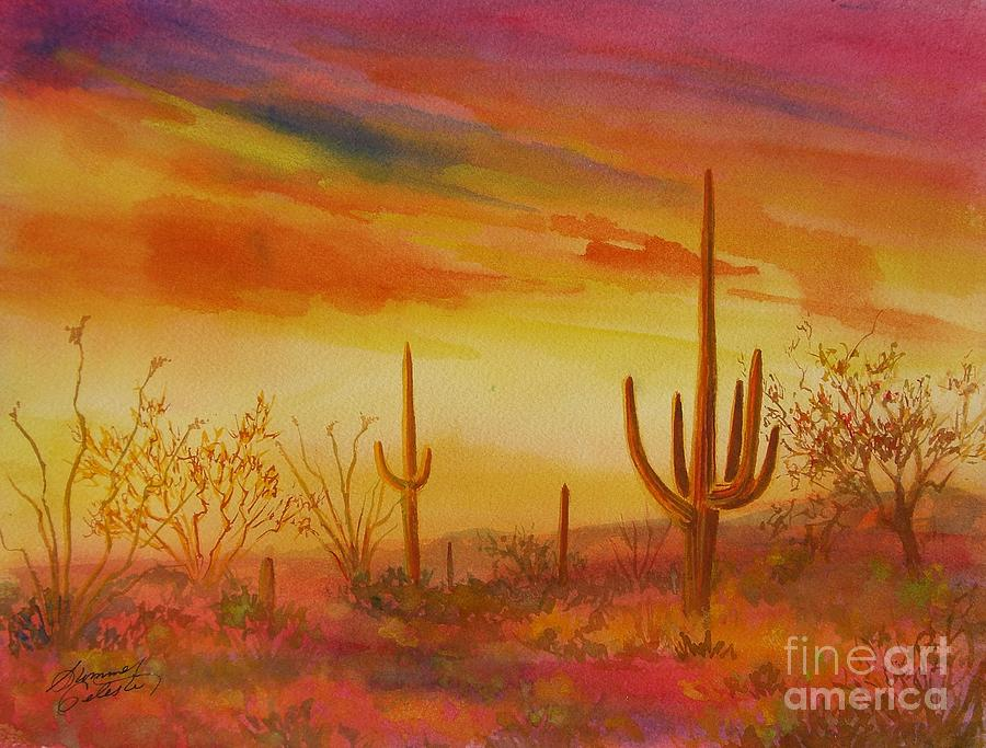 Desert Painting - Orange Sunset by Summer Celeste