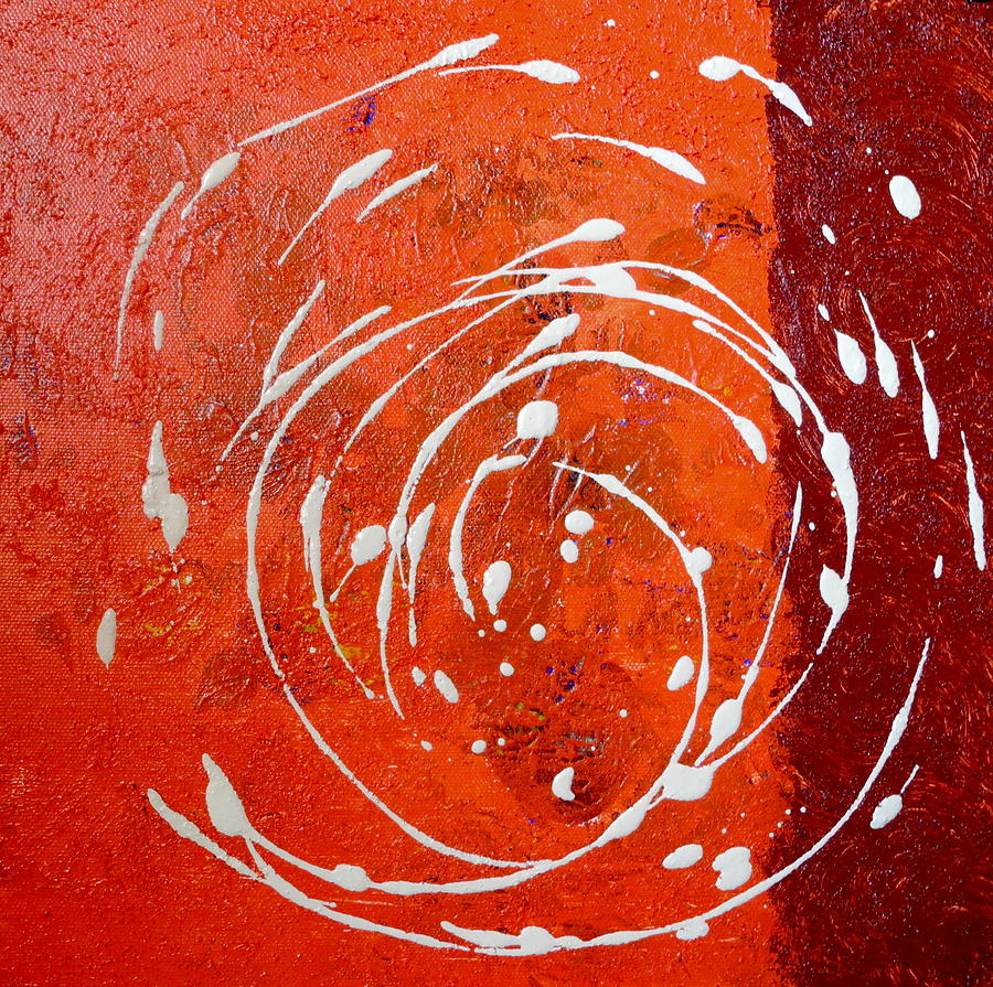 Abstract Painting - Orange Swirl by Sue McElligott