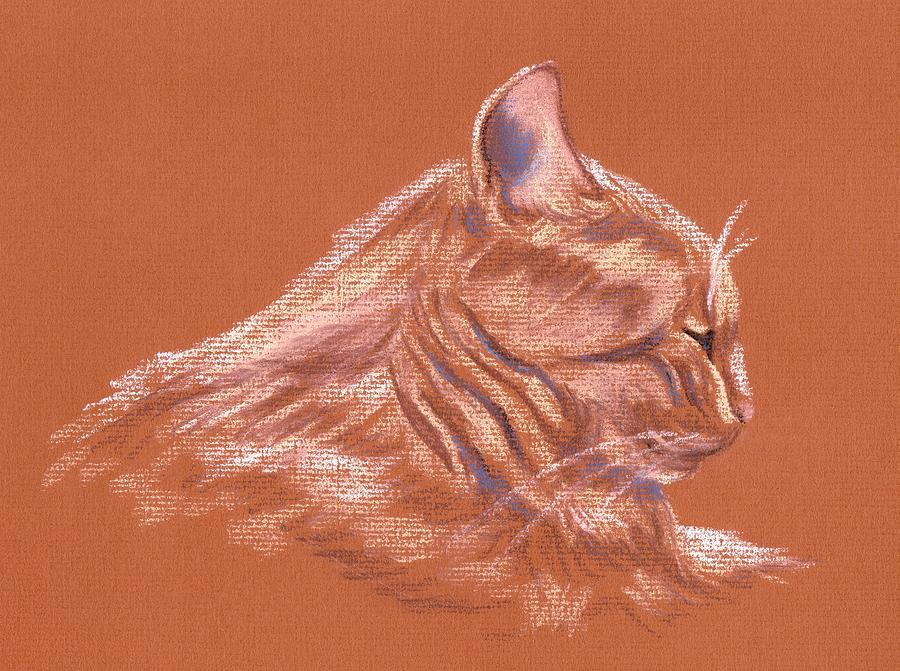 Cat Pastel - Orange Tabby Cat In Profile by MM Anderson