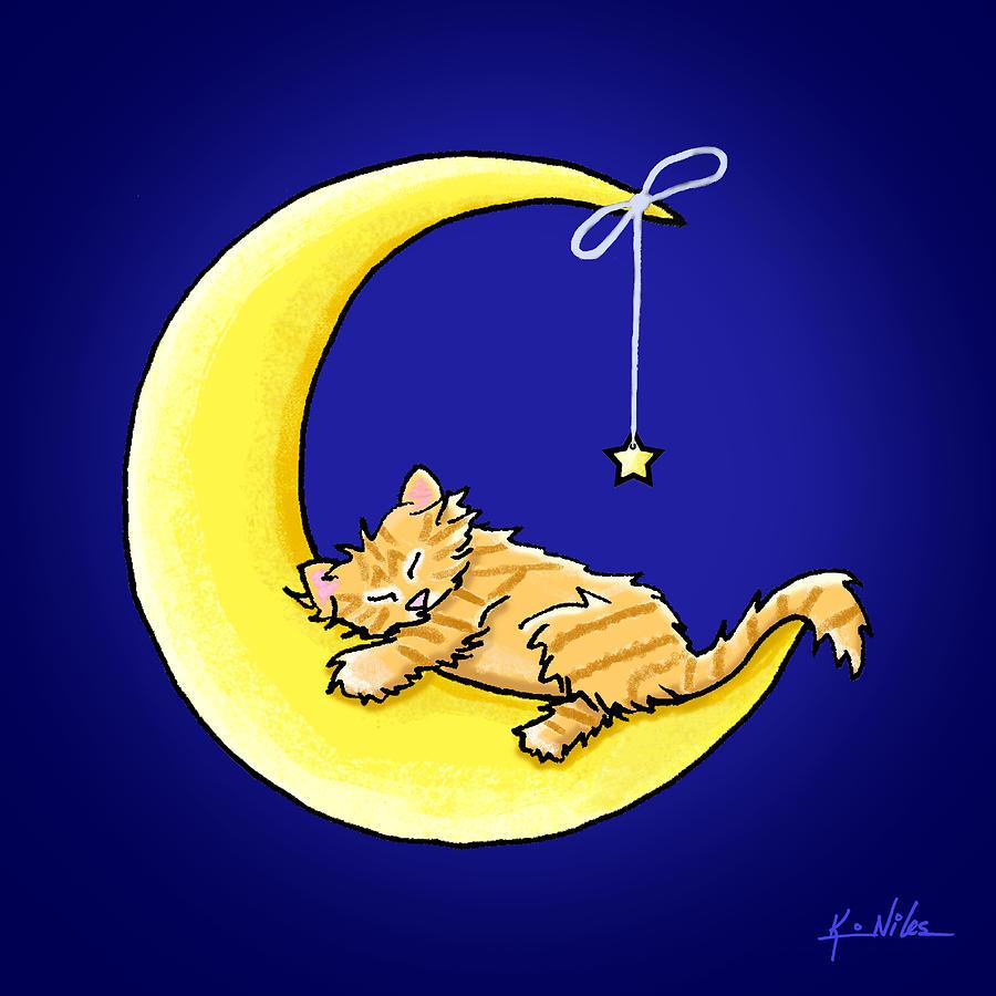 Sleeping Drawing - Orange Tabby Lunar Love by Kim Niles