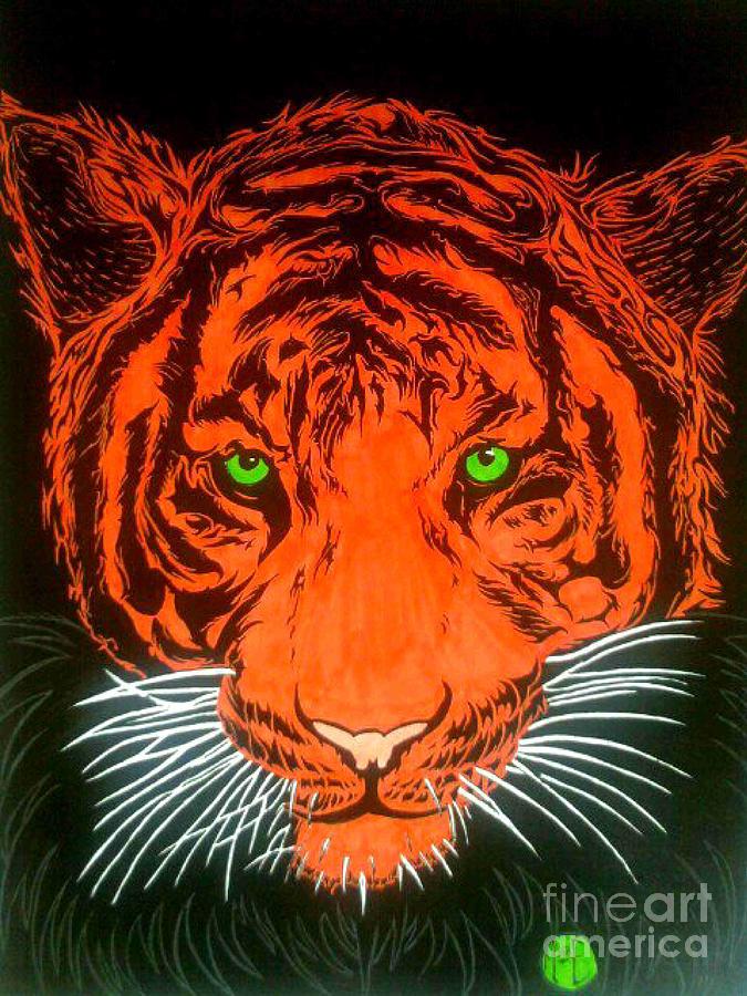 Wildlife Drawing - Orange Tiger by Justin Moore