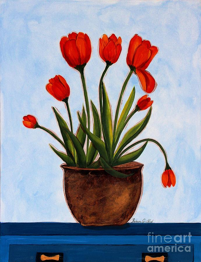 Tulips Painting - Orange Tulips On A Blue Buffet by Barbara Griffin