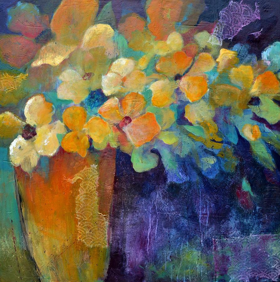 Flowers Painting - Orange Vase by Filomena Booth