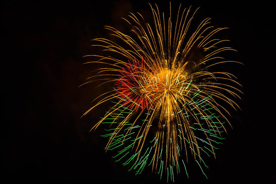 Orange Photograph - Orange Yellow Green Fireworks Galveston by Jason Brow