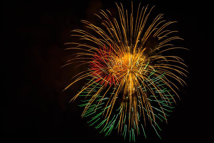 Orange Photograph - Orange Yellow Green Fireworks Galveston by Jason Brow