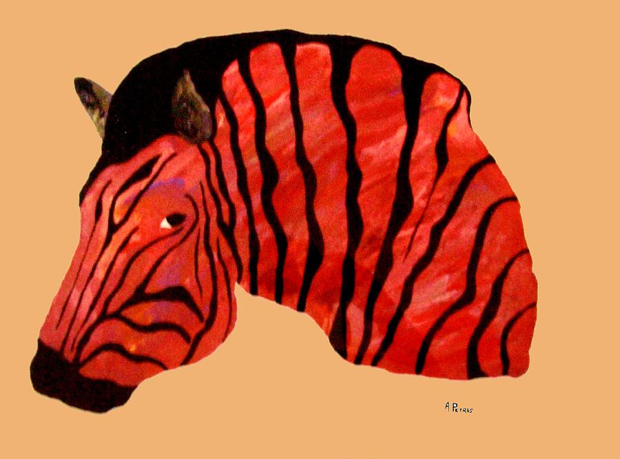 Zebra Painting - Orange Zebra by Andrew Petras