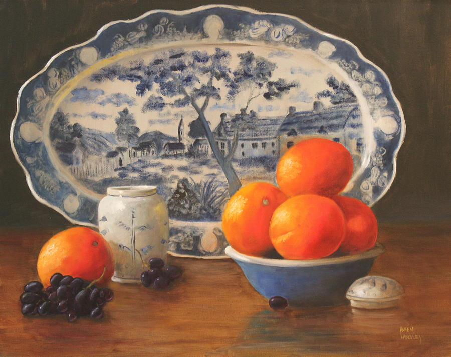 Oranges Painting - Oranges And Platter by Karen Langley