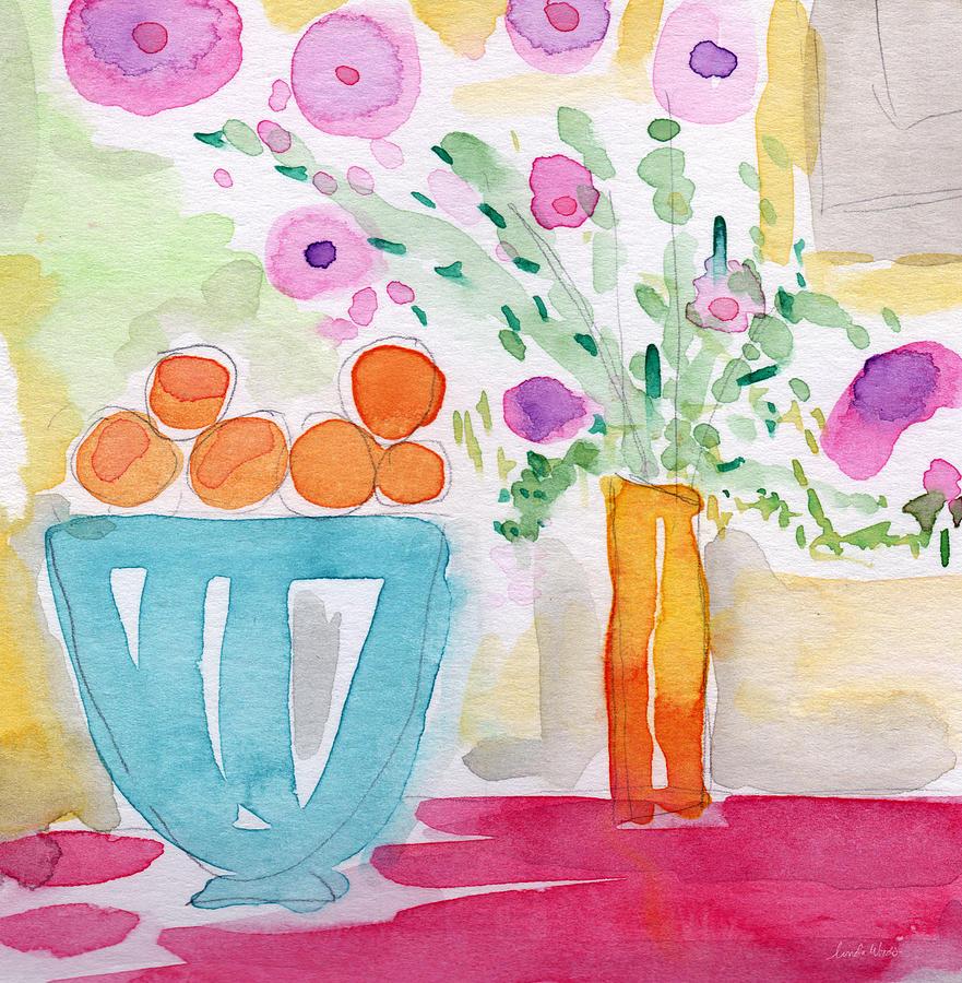 Oranges Painting - Oranges In Blue Bowl- Watercolor Painting by Linda Woods
