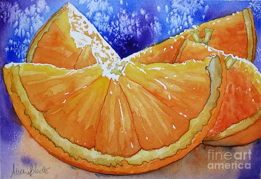 Still Life Painting - Oranges n Blues by Marisa Gabetta