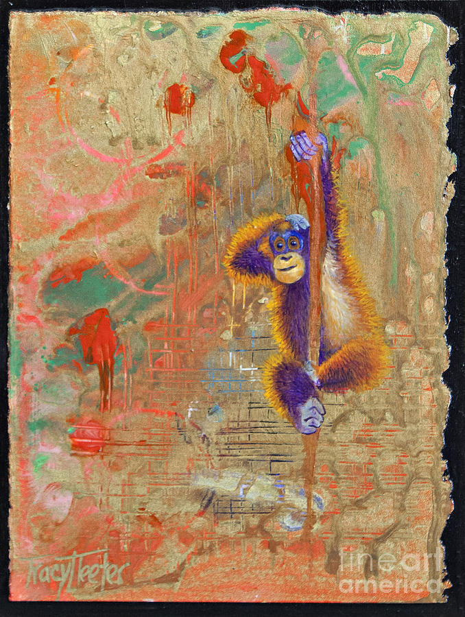 Abstract Painting - Orangutan Abstract by Tracy L Teeter