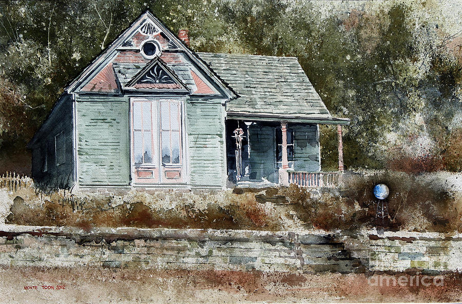 A Small House With A Victorian Features Nestles Against The Woods In Eureka Springs Painting - ORB by Monte Toon