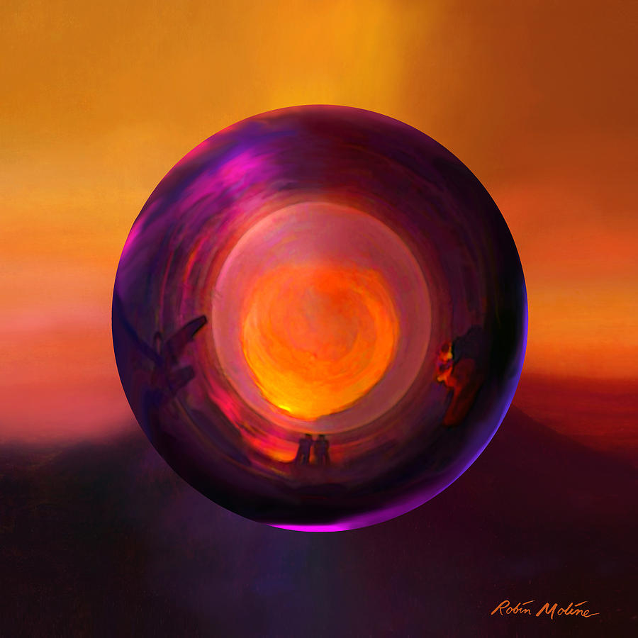 Sunrise Painting - Orbing An Evening Sunset by Robin Moline