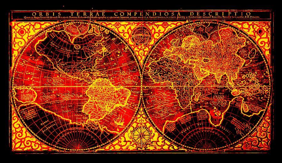 Orbis terrae compendiosa descriptio world map by mercator 1587 ad orbis terrae compendiosa descriptio world map by mercator 1587 ad drawing by l brown gumiabroncs Images