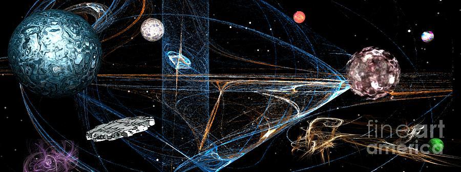 Sci Fi Digital Art - Orbit by Jacqueline Lloyd