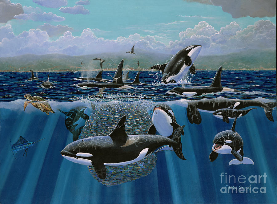 Orca Painting - Orca Play Re009 by Carey Chen