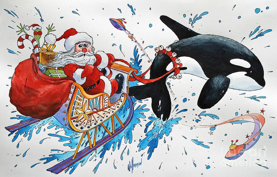 Holiday Greeting Card Painting - Orca Santa by James Williamson