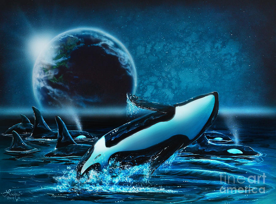 Orcas At Night Painting By Lachri