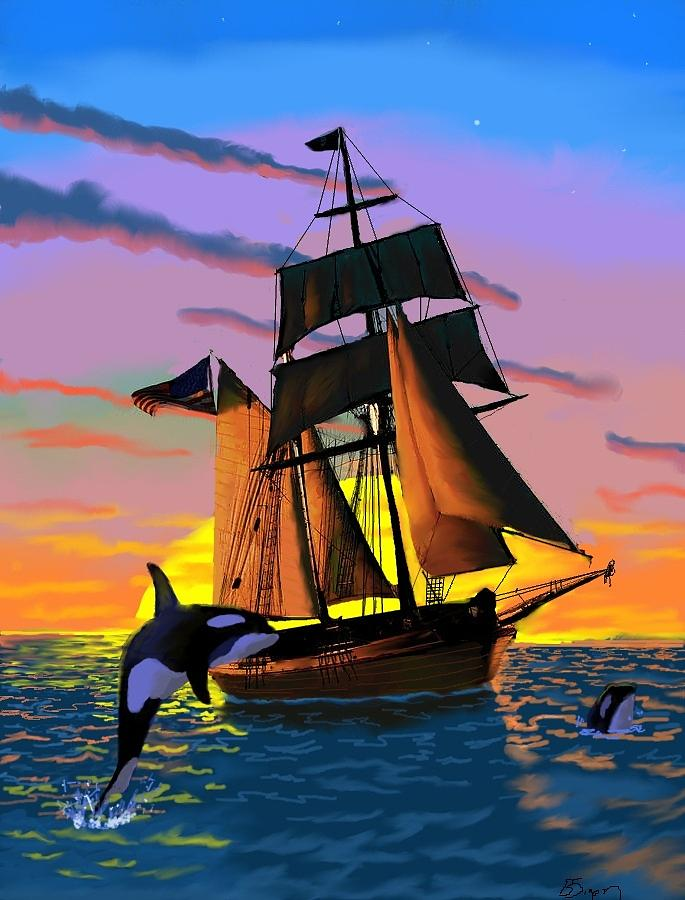 Orca Whales Digital Art - Orcas At Sunset by Brad Simpson