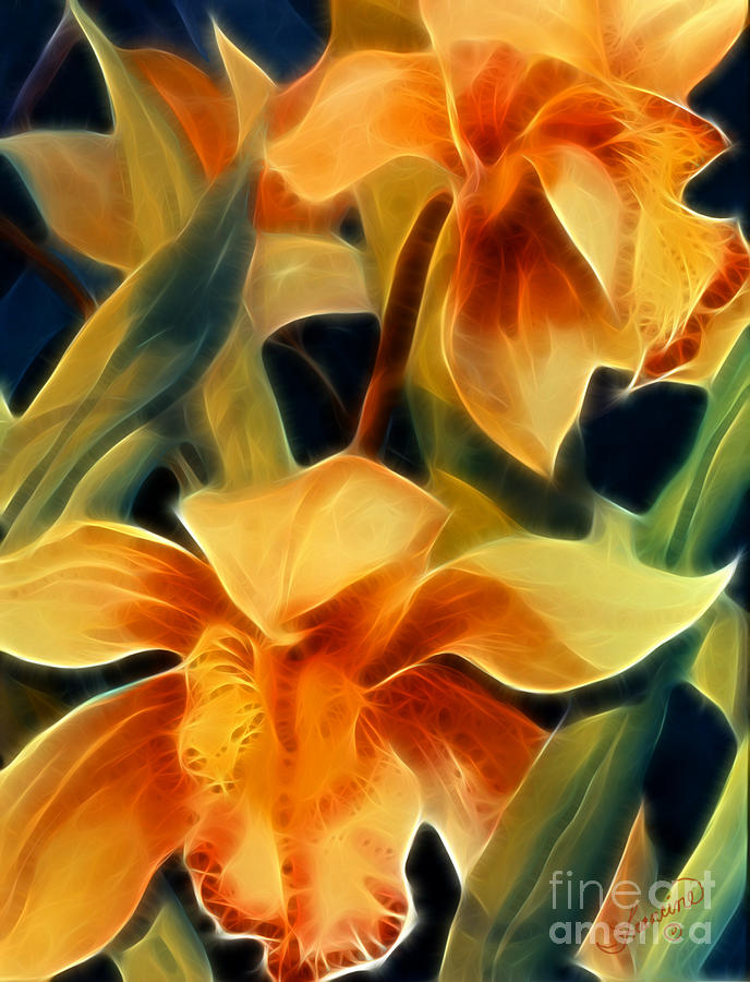 Floral Painting - Orchid II Life by Francine Dufour Jones