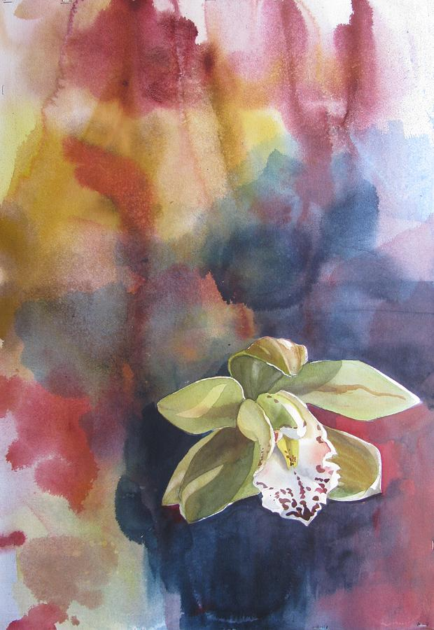 Flower Painting - Orchid With Abstraction by Alfred Ng