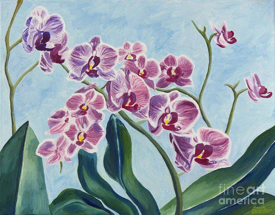 Orchids Painting - Orchids by Annette M Stevenson