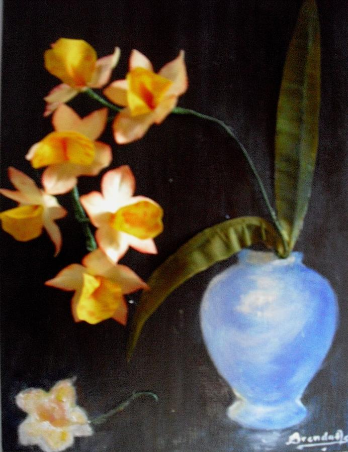 Flowers Mixed Media - Orchids In A Vase by Brenda Almeida-Schwaar
