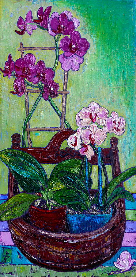 Orchids on Stripes by Linda J Bean