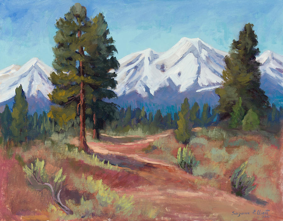 Snow Covered Mountains Painting - Oregon Cascade Mountains by Suzanne Elliott
