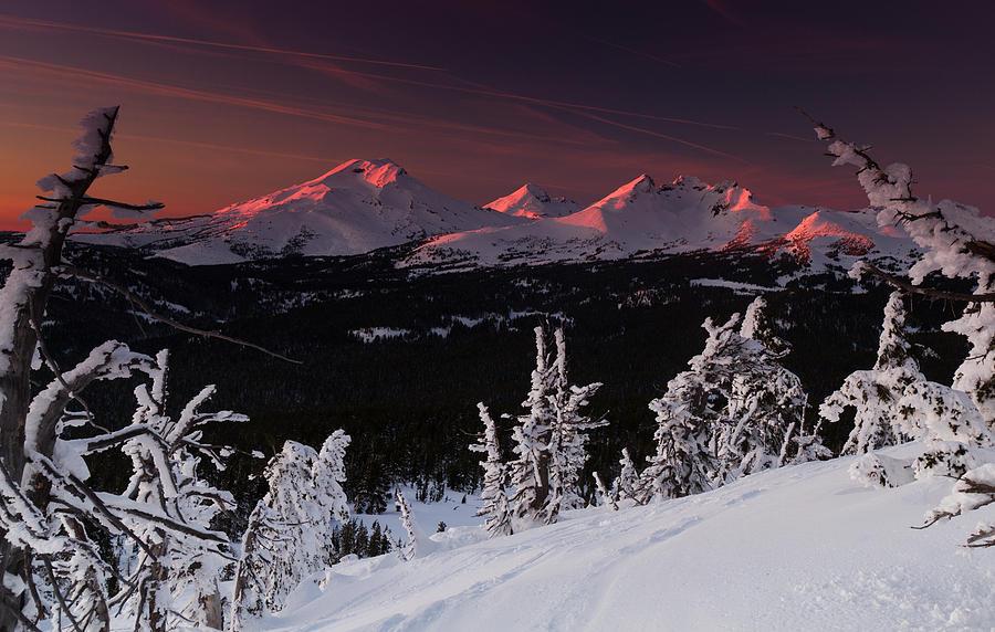 Oregon Cascades Winter Sunset by Kevin Desrosiers
