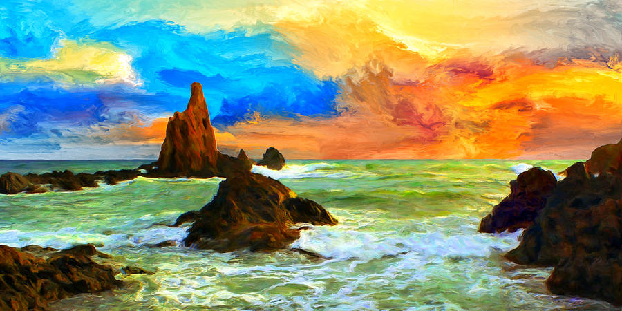 Oregon Painting - Oregon Coast At Sunset by Dominic Piperata
