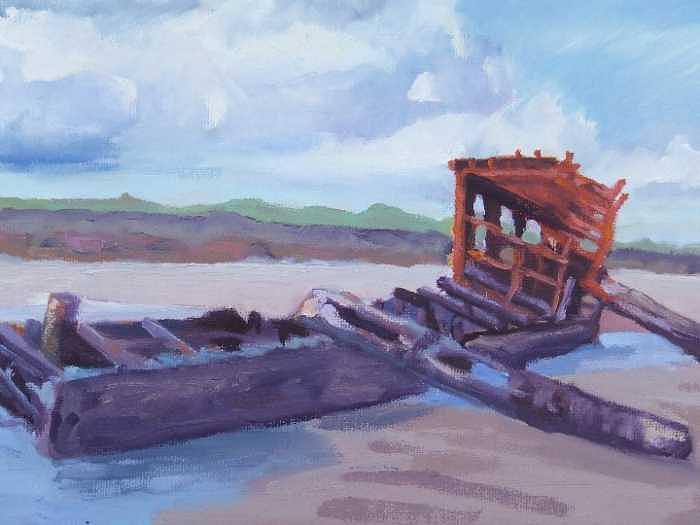 Nfs Painting - Oregon Coast Shipwreck by Raymond Kaler